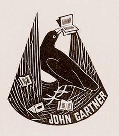 Bookplate by Australian artist Eric Thake (1904-1982) for John Gartner, 1943  Ex-Libris Art. we love books. we love libraries. we love art. www.armadaistanbul.com www.armadaistanbulculture.com