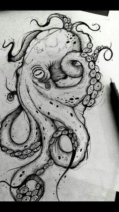 Octopus Design Octopus Tattoo Octopus black and white design sea background . - Octopus Design Octopus Tattoo Octopus Black and White Design Sea Background … – Octopus Design - Octopus Drawing, Octopus Tattoo Design, Octopus Tattoos, Octopus Art, Tattoo Designs, Octopus Sketch, Octopus Painting, Octopus Illustration, Chest Tattoo Octopus