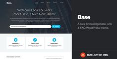 Intro.  A brilliantly crafted knowledgebase-esque WordPress Theme. Whether you're selling a product, have an exhaustive collection of help articles, FAQs (or just a large collection of articles in general). Enjoy seamless customization and easy execution with Base.  Key Features.  Clean Bold, & Timeless