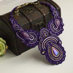 Fioletowy naszyjnik sutasz, kolia sutasz, soutache necklace, purple bib necklace