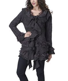 Another great find on #zulily! Charcoal Ruffle Lace Wool-Blend Cardigan #zulilyfinds. Size large. Like the brown also