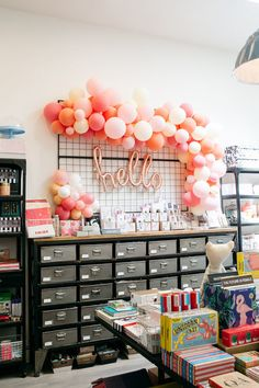 balloons for sale at Bonjour Fête. Party Supply Store, Party Stores, Party Shop, Balloon Box, Balloon Display, Kids Store, Toy Store, Gift Shop Interiors, Flower Shop Decor