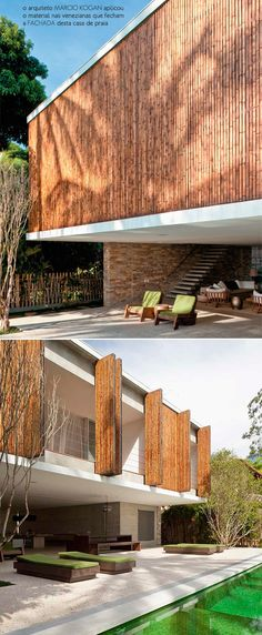 15 Ideas For Exterior Facade Shutters Architecture Design, Bamboo Architecture, Facade Design, Residential Architecture, Exterior Design, Interior And Exterior, Exterior Shutters, Bamboo House, Bamboo Design