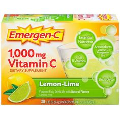 Alacer Emergen-C Vitamin C Fizzy Drink Mix Lemon Lime Description: 1000 MG Vitamin C Flavored Fizzy Drink Mix 24 Nutrients with Antioxidants, Electrolytes Post Workout Drink, Antioxidant Vitamins, Natural Vitamins, Lemon Lime, Natural Flavors, Vitamins And Minerals, Mixed Drinks, Food