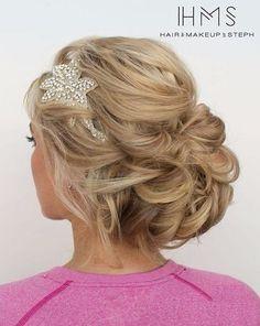 Bride's hairstyle, updo, messy bun, wedding