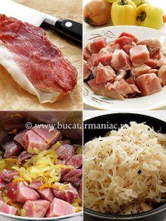 Varza murata cu carne de porc ~ bucatar maniac My Recipes, Cooking Recipes, Good Food, Yummy Food, Romanian Food, Food Places, I Foods, Steak, Cabbage