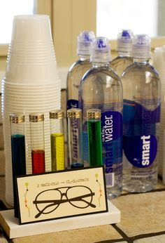Nerd party ideas--smart water! Cute