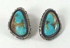 sterling silver and turquoise post earrings E545 Vintage Earrings, Vintage Jewelry, Matrix Color, Native American Earrings, American Indian Jewelry, Vintage Shops, Jewelry Making, Turquoise, Pure Products