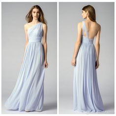 Blue One Shoulder Bridesmaid Dresses 2015 Chiffon Floor Length Maid of Honor Dresses Formal Dresses Back Zip Pleat Top Custom Made Ruffle Online with $87.53/Piece on Graceful_ladies's Store | DHgate.com