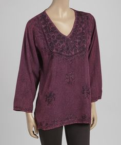 Another great find on #zulily! Maroon Embroidered V-Neck Tunic by The OM Company #zulilyfinds