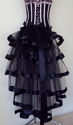 Black Burlesque Steampunk Bustle Belt size US 2 4 6 8  10 UK 6