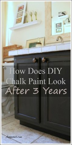 The first thing I ever painted with my DIY chalk paint is the bathroom vanity. I thought you would like to see How Does DIY Chalk Paint Look After 3 Years. Chalk Paint Cabinets, Chalk Paint Kitchen, Painting Bathroom Cabinets, Paint Bathroom, Shiplap Bathroom, Basement Bathroom, Best Bathroom Vanities, Diy Bathroom Vanity, Diy Vanity