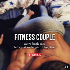 "gymaaholic: "" Fitness Couple We're both sore, let's just make gainz together. http://www.gymaholic.co """