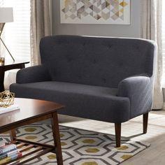 Baxton Studio Toni Mid-Century Modern Walnut Finish Button Tufted Upholstered Loveseat Settee - 808-DARK-GREY-LS