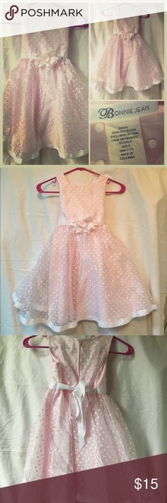 Little Girl's Formal Sleeveless Party Dress Beautiful dress for the little girl in your life! Features a base layer of a solid pale pink color, covered by a sheer material accented with white polka dots, & a shabby chic floral detail at the waist! Zip closure in back, with added back-ties! Please see pictures for labels and material details, thanks! Bonnie Jean Dresses Formal