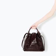 ZARA - SHOES & BAGS - CROC LEATHER BUCKET BAG