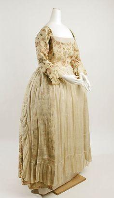 Printed linen dress, American, mid-18th C.