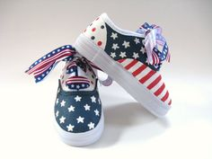 Girls Patriotic Shoes 4th of July Painted by boygirlboygirldesign, $36.00