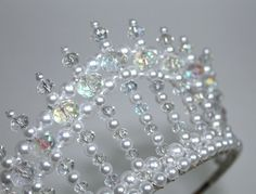 Crystal AB and Pearl Diva Tiara, Princess Tiara, bridal Tiara, Birthday Tiara, Beauty Queen Tiara - °Taç Diy Tiara, Hair Jewelry, Bridal Jewelry, Beaded Jewelry, Jewellery, Queens Tiaras, Birthday Tiara, Bridal Tiara, Wedding Veils