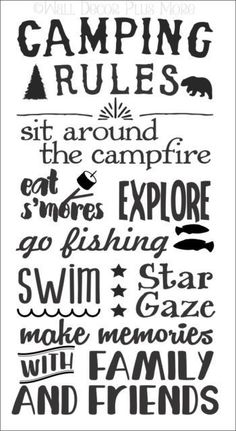 Camping Rules Subway Art Wall Decals Sticker Camper RV Camp Quote Saying 37x20