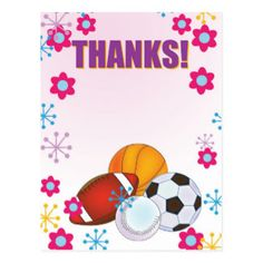 Sports Fan Thank you note pink and floral Postcard