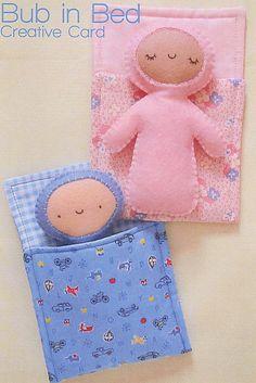 Bub In Bed - A5 Creative Card Sewing Craft PATTERN - Soft Toy Felt Doll Bear   eBay