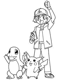 Boy from Pokemon anime coloring pages for kids, printable free ...