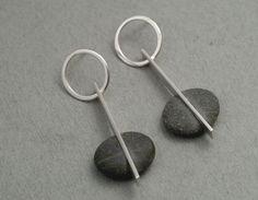 MB749  Straight line stud earrings - pebbles,sterling silver (35mm long)  $270