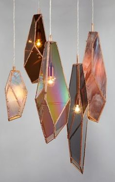 These are so awesome! Light fixtures like agate slices or iridescent glass, shaped like crystal formations!