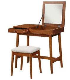 A mid-century modern desk that doubles as a mirrored vanity.