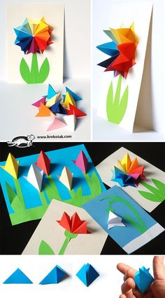 Paper flowers done in krokotek origami. Gorgeous inside cards or outside on card face. Watch the video😉 Kids Crafts, Summer Crafts, Projects For Kids, Diy And Crafts, Arts And Crafts, Origami And Kirigami, Origami Paper, Diy Paper, Paper Art
