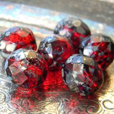 Hollyberry 6 Czech Glass Faceted Rounds 12mm by TheBeadApothecary (Craft Supplies & Tools, Jewelry & Beading Supplies, Beads, czech, faceted, 12mm, berry, red, picasso, garnet, jewel, round, holly, luster, metallic, fire polished)