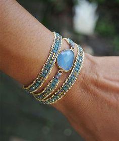 Blue mix wrap bracelet with chain, Boho bracelet, Bohemian bracelet, Beadwork bracelet - Bracelets - Tutorials Bracelet Wrap, Beaded Wrap Bracelets, Bohemian Bracelets, Hippie Jewelry, Bracelet Making, Diy Jewelry, Beaded Jewelry, Jewelry Bracelets, Handmade Jewelry