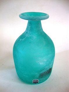 Vase Flaschenform a Scavo Cenedese Murano Glas grün 1960/70 signiert