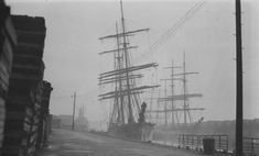 England: The 'Lalla Rookh' lies alongside the quay in the Surrey Docks, with the 'Alastor' on the opposite side of the dock and the 'Virgo' astern, probably in June, 1928 (Museum of London) London Pictures, London Photos, Old Pictures, Old Photos, London History, British History, Vintage London, Old London, London Free