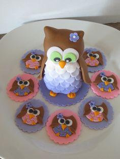 Ladybug Cakes, Owl Cakes, Bird Cakes, Cupcake Cakes, Fruit Cakes, Fondant Owl Tutorial, Cake Topper Tutorial, Owl Cake Toppers, Fondant Toppers