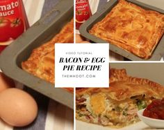 Everyone is loving this easy and delicious Bacon and Egg Pie Puff Pastry Recipe and we have a quick video tutorial to show you how. View now. Egg And Bacon Pie, Egg Pie, Pastry Dough Recipe, Puff Pastry Recipes, Egg Recipes, Cooking Recipes, Yummy Recipes, Recipies, Cooking Venison Steaks