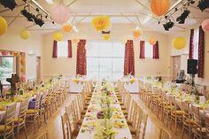 A Delightfully Bright And Yellow Handmade, DIY Village Hall Wedding Diy Wedding Reception, Marquee Wedding, Wedding Bells, Our Wedding, Wedding Venues, Wedding Ideas, Wedding Stuff, Diy Wedding Decorations, Reception Decorations