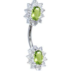 Sterling Silver 925 Peridot Cubic Zirconia Unforgettable Belly Ring | Body Candy Body Jewelry #bodycandy