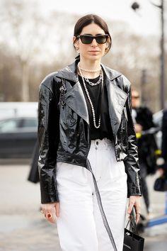 Glamour, Stylish Sunglasses, Leggings, Blazer, Fashion Show, Fashion Trends, Retro, Ruffle Blouse, Leather Jacket