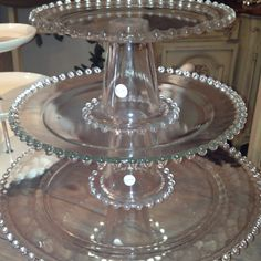 clear glass candlewick vintage Cake Stands