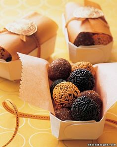 BRIGADEIRO Give your guests a sweet send-off. Nestle homemade truffles decorated with sprinkles in little wooden boxes. Ours are lined with glassine -- trimmed with scallop scissors -- then wrapped in narrow ribbon and sealed with pumpkin stickers.