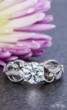 Fleur D' Love Curvy Engagement Ring   Green Lake Jewelry