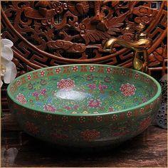 Europe Vintage Style Hand Painting Art Porcelain Green Countertop Basin Sink Handmade Ceramic Bathroom Vessel Sinks Vanities $181.80