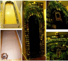 My doorway insert made from cardboard and dollar store items . First of new props for Orphanage theme .http://www.halloweenforum.com/members/theundeadofnight-albums.html