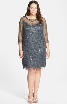 Pisarro Nights Illusion Neck Beaded Shift Dress (Plus Size) | Nordstrom