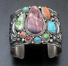 Darryl Becenti Purple Spiny Oyster Shell Multistone Sterling Silver Cuff   eBay