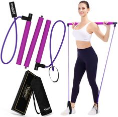 Pilates Bar Kit Exercise Gym Home Workout - 2 Resistance Band - 3 Section Sticks - Purple
