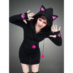 Sweat Veste Gothique Kawaii Capuche Oreilles Kitty Chat