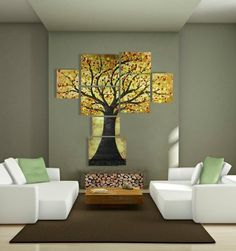 Modern Extra Large Wall Art of Tree of Life and sofa - wall decor, tree art
